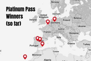 A map showing where each Platinum Pass winner is located