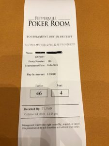 My tournament slip from Run It Up Reno