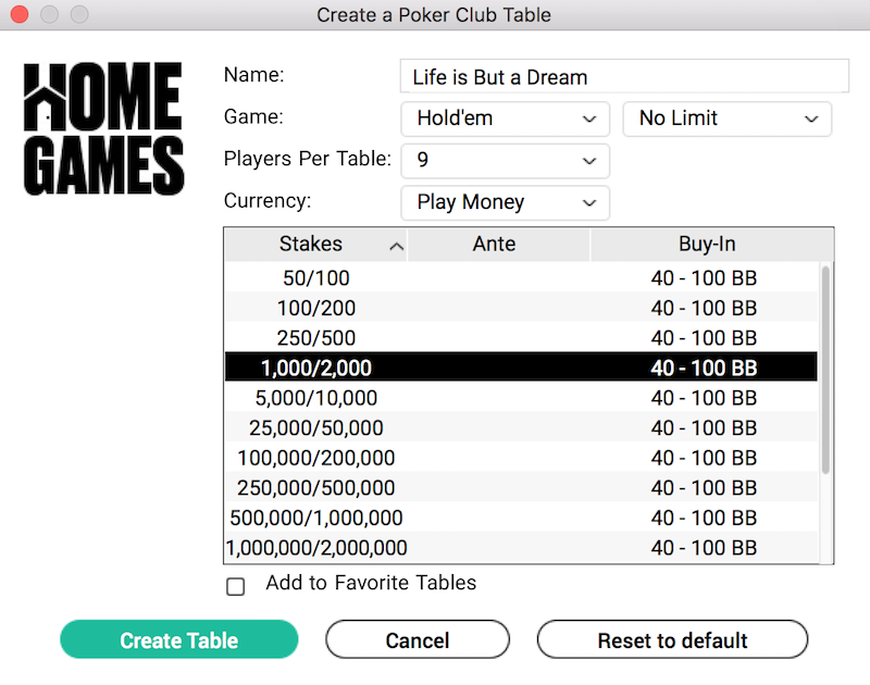 Creating a cash game in PokerStars Home Games
